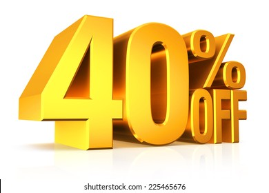 3D render gold text 40 percent off on white background with reflection.