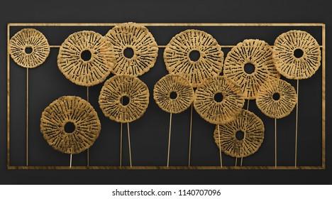 3D render Gold Wall art Metal Sculpture