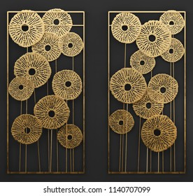 3D render Gold Wall art Metal Sculpture