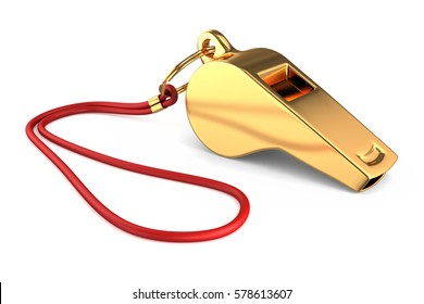 3d render of a gold whistle isolated on white