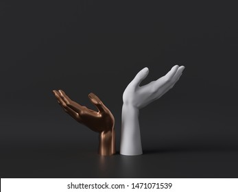 3d render, gold and white female mannequin hands isolated on black background, body parts, fashion concept, religious prayer, sacred ritual, holding gesture, clean minimal design, blank space
