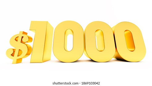 3d render of golden 1000$ one thousand price symbol isolated on white background.