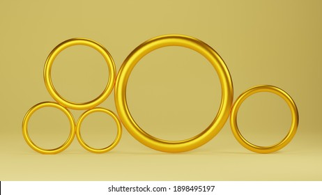 3d render of a golden circles, bright  yellow monochrome with empty space