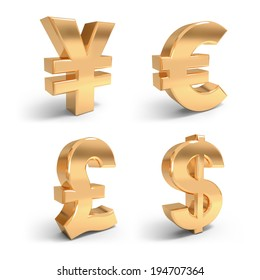 3d render golden currency symbols on the white background.