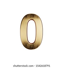3d render of golden digit alphabet character font number zero null simbol - 0. Isolated on white background