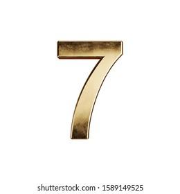 3d render of golden digit alphabet character font number seven simbol - 7. Isolated on white background