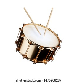 3d render of golden drum isolated on white background