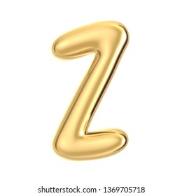 3D render golden foil alphabet Z isolated on white background