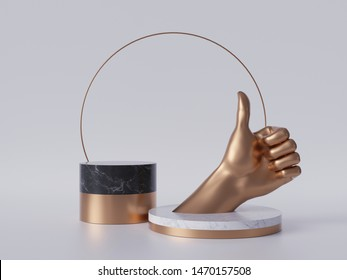 3d render, golden hand thumb up, like gesture, black marble pedestal isolated on white background, best quality concept, gold round frame, blank cylinder podium, simple design, luxury minimal mockup
