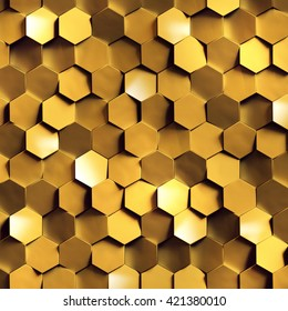 3d render, golden honeycomb wall texture, gold hexagon clusters digital illustration, abstract geometric background