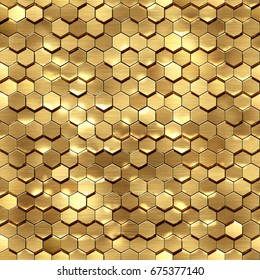 3d render, golden honeycomb wall texture, gold hexagon clusters, abstract geometric background.High-resolution seamless texture