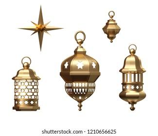 3d render, golden lantern, magical lamp, star, tribal arabic decor, ornaments collection, arabesque design elements set, digital illustration, isolated object on white background