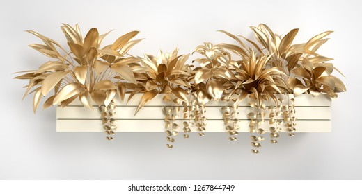 3d render golden leaf and flower design elements. Decoration elements for Christmas, home, invitation, wedding cards, valentines day, greeting cards. gold potted plants Isolated on white background.