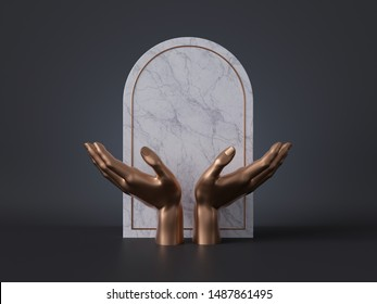 3d render, golden mannequin hands isolated on black background, white marble panel, blank frame, spiritual concept, shop display, luxury minimal mockup, product showcase template, simple clean design