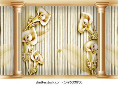 3d render, Golden ornamental flowers on golden stripes background with 3d pillars