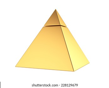 3d render of golden pyramid isolated on white background