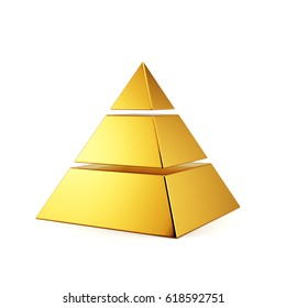 3d render of golden pyramid on white background