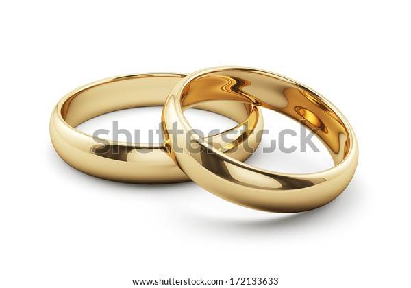 3d render of golden rings isolated on white background