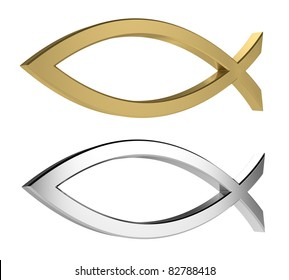 3d render of golden and silver icthus isolated on white