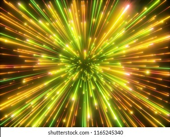 3d render, golden sparkling fireworks, big bang, galaxy, abstract cosmic background, falling stars, celestial cosmos, beauty of universe, speed of light, neon light, outer space, glow