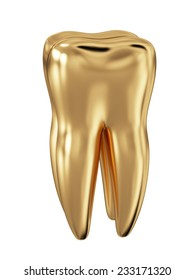 3d render of golden tooth isolated on white background
