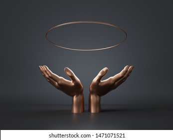 3d render, golden woman mannequin hands isolated on black background, floating halo, open palms, holding gold ring, round blank frame, abstract fashion, luxury minimal mockup, simple clean design