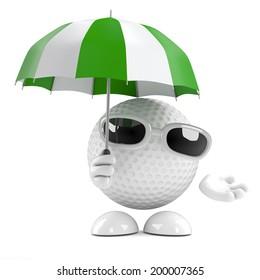 3d render of a golf ball character holding an umbrella