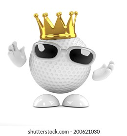 3d render of a golf ball wearing a gold crown