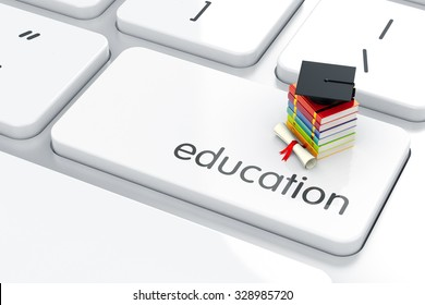 3d render of graduation cap with books icon on the keyboard. Education concept