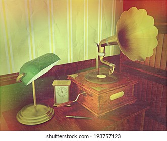 3D render of a gramophone in old style room with a vintage retro effect