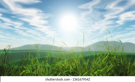 3D render of a grassy landscape against a blue sunny sky