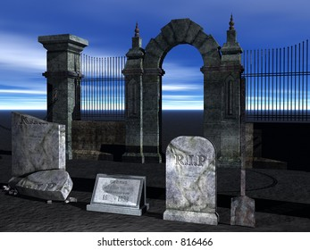 A 3d render of a graveyard