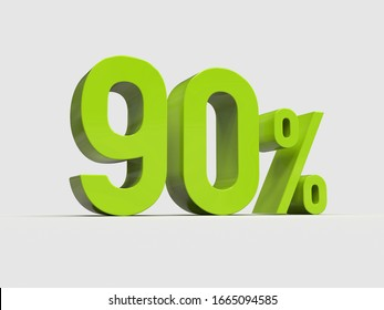 3d Render: Green 90% Percent Discount 3d Sign on White Background, Special Offer 90% Discount Tag, Sale Up to 90 Percent Off,  Ninety Percent Letters Sale Symbol, Special Offer Label, Sticker, Tag