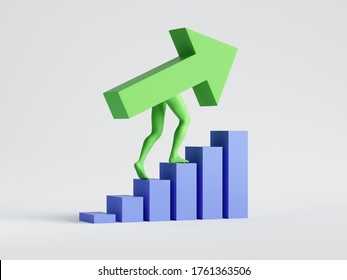Rendu 3d, flèche verte monte. Augmentation du concept de graphique financier. Graphique à barres d'activité statistiques image clipart isolée sur fond blanc. Une métaphore de carrière. Icône Info