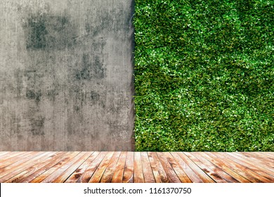 3d render of green fresh vertical garden and concrete wall