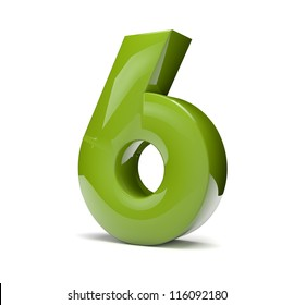 3d render of a green number six