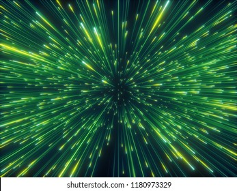 3d render, green sparkling fireworks, abstract cosmic background, big bang, galaxy, falling stars, celestial cosmos, beauty of universe, speed of light, neon glow, cosmic light, outer space