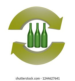 3d render of green two arrow recycling symbol with three green glass bottles inside over white background