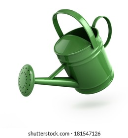 3d render of a green watering can