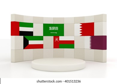 3D Render of Gulf Cooperation Council Member Country Flags | Wall Style