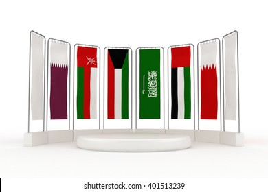 3D Render of Gulf Cooperation Council Member Country Flags | Hanging Style