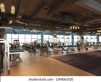 3d render of gym fitness center