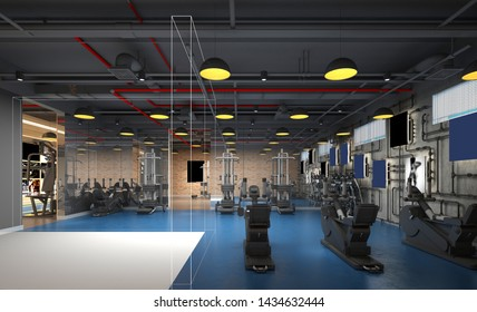 3d render of gym fitness saloon