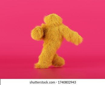 3d render, hairy yellow beast cartoon character walking or dancing, isolated on pink background, active posing. Fluffy plush toy. Man wearing halloween costume of a mascot, furry monster