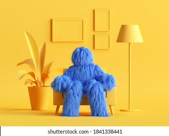 3d render, hairy yeti toy, blue cartoon character monster sits in an armchair inside modern minimal yellow living room. Abstract dollhouse interior