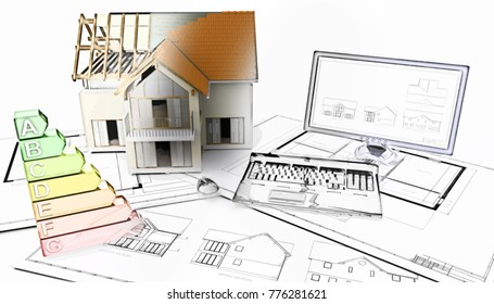 3D render of a half built house on plans with half in sketch phase