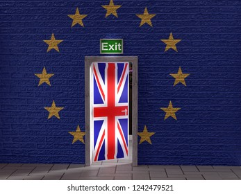 3D render of half open  door with Great Britain flag in the wall with superimposed EU  flag as Brexit concept