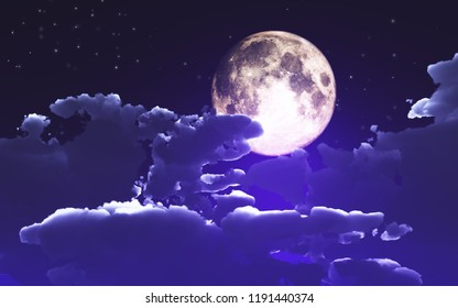 3D render of a Halloween background with clouds and moon