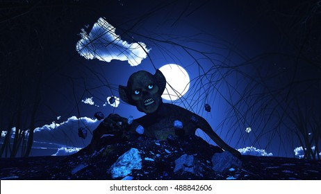 3D render of a Halloween background with zombie erupting out of the ground