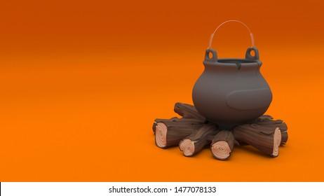3D render of a Halloween cauldron filled with eyeballs